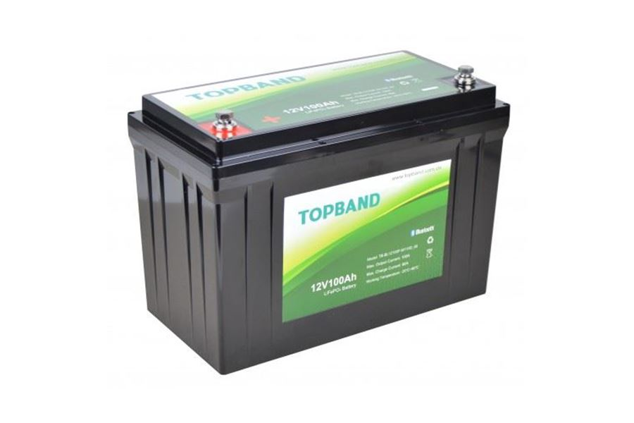 Topband Lithium 12V Batteri 100AH Bluetooth - Inkl. montering