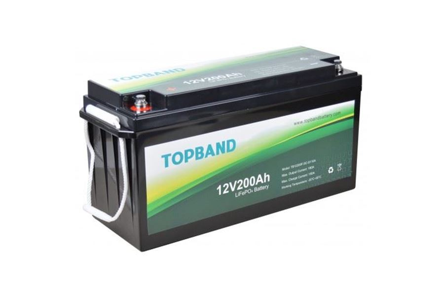 Topband Lithium 12V Batteri 200AH Bluetooth - Inkl. montering