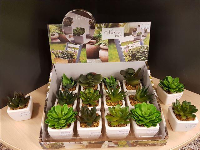 Kunstig kaktus i keramisk potte
