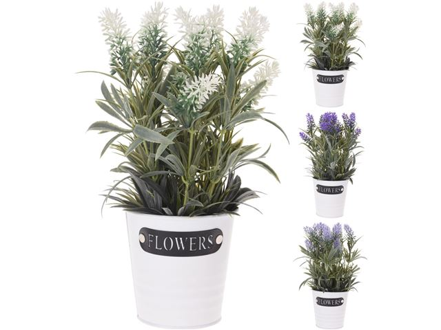 Kunstig plante lavendel i metalspand