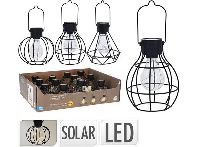 Solcelle lampe sort metal