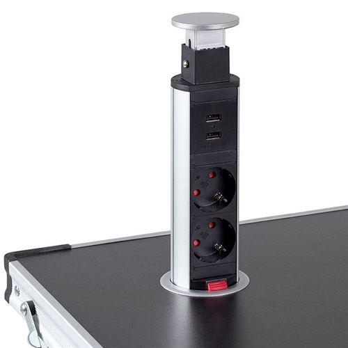 Isabella Pop-up Tower med stikdåser + usb