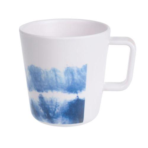 Melamin Kop - lys med ass. blå mønstre