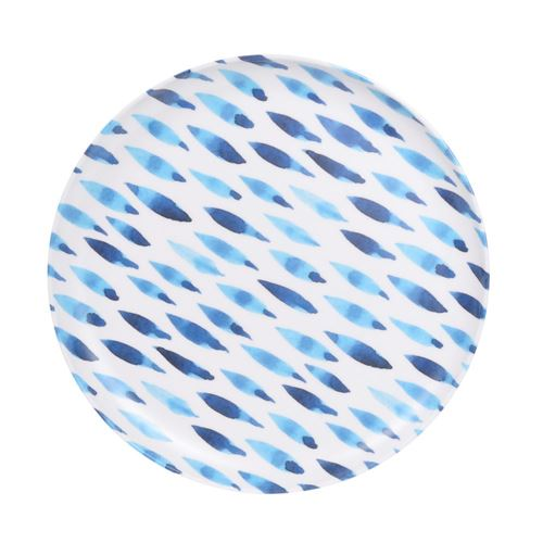 Melamin desserttallerken - Lys ass. blå mønstre