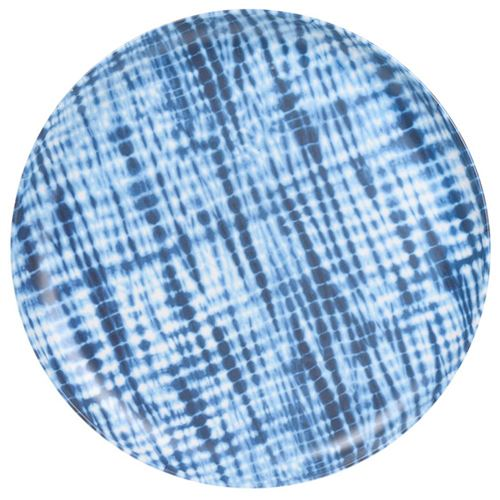 Melamin middagstallerken - Lys med ass. blå mønstre