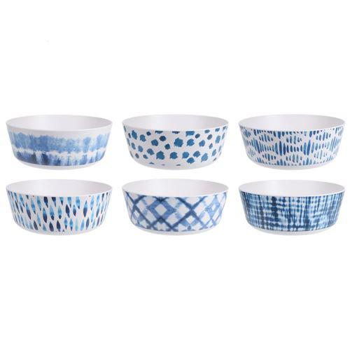 Melamin salatskål - lys med ass. blå mønstre