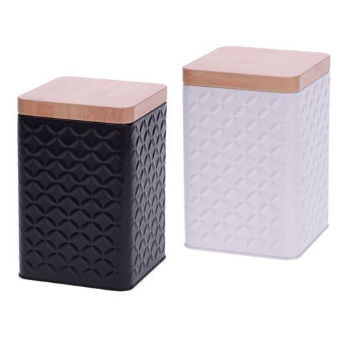 Metaldåse med bambuslåg 10,5x10,5x16 cm - Kun sort tilbage