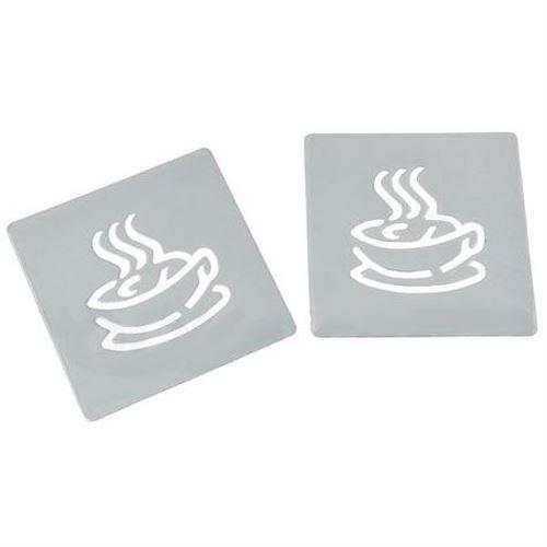 Drikkebrikker - bordskåner i metal 2 stk - Cafe
