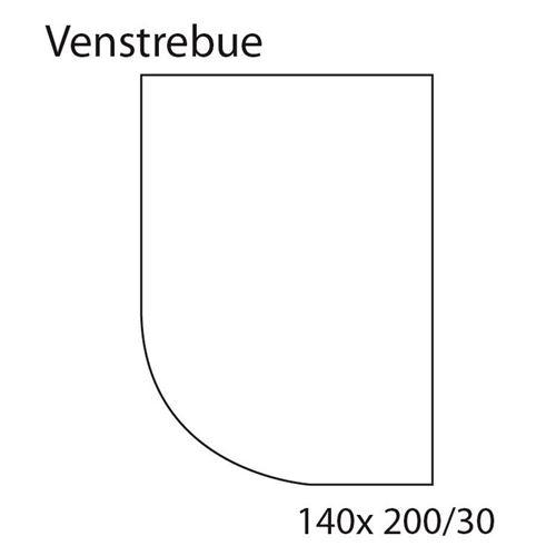 Faconlagen SORT, venstrebue, 140 cm