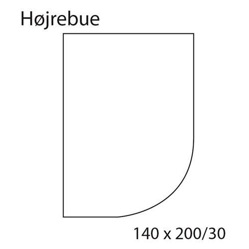 Faconlagen GRÅ, højrebue, 140 cm