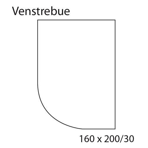 Faconlagen RÅHVID, venstrebue, 160 cm