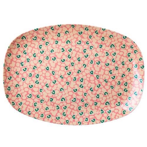 RICE fad/tallerken rosa med grønt print