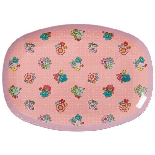 RICE fad/tallerken med blomstermotiv