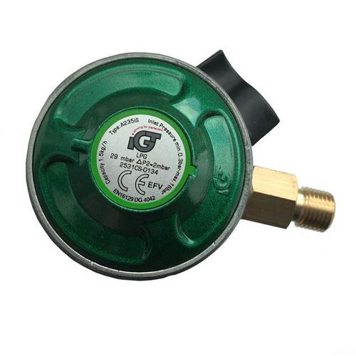 """Regulator til 5-10 kg gasflasker - til slange m/ 1/4"""" fitting"""