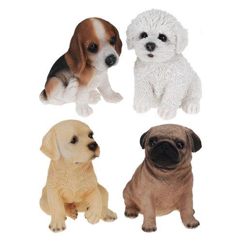 Figur Hundehvalp højde 14 cm - ass.