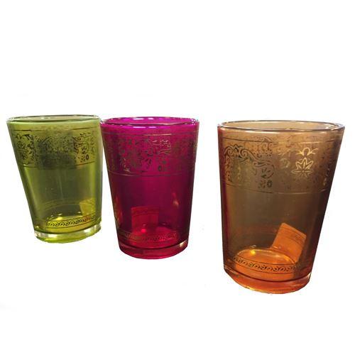 Fyrfads holder i glas med guld dekoration pris pr. stk