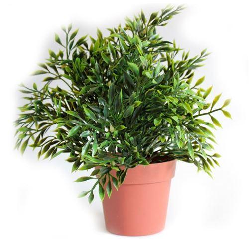Kunstig grøn plante i potte - 25 cm høj - Vælg variant