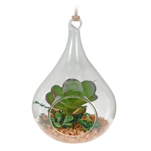 Kunstig plante i hængeglas