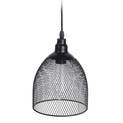 Hængelampe i sort trådmetal til batteri