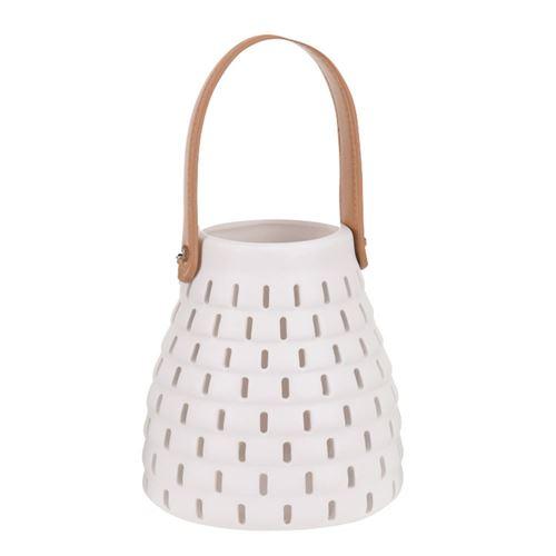 Lanterne i keramik m/læder hank - vælg farve