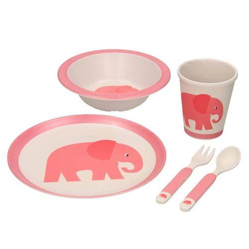 Bambus Servicesæt til børn i 5 dele - Elefant