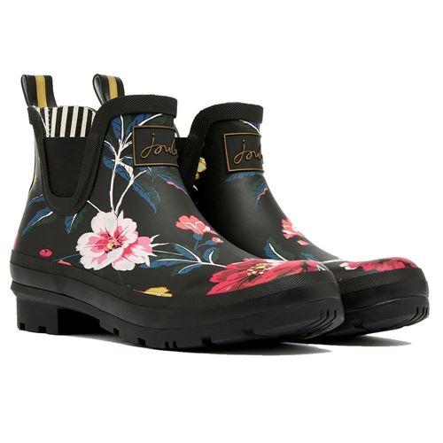 Tom Joules gummistøvle kort - Black Floral