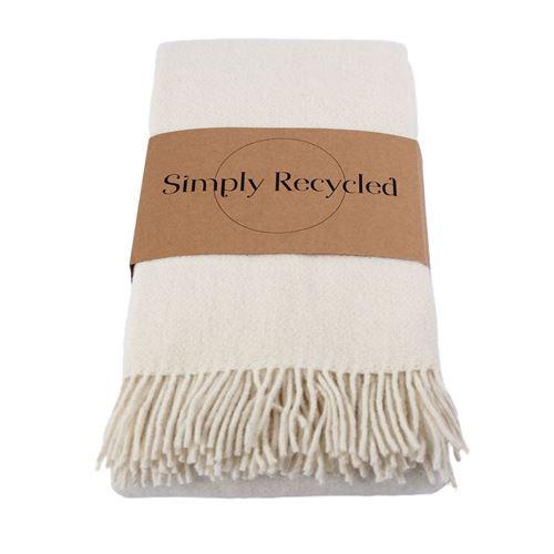 Uldplaid Recycled - Råhvid - NYHED