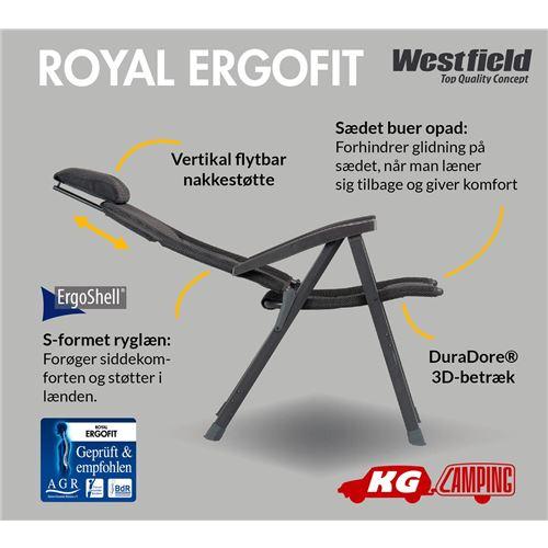 Westfield Royal Ergofit campingstol - Antrazitgrå - forudbestilles