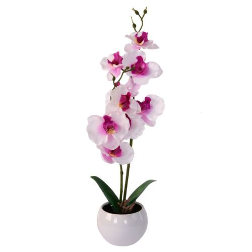 Kunstig orkide i potte - 37 cm høj - hvid/lilla