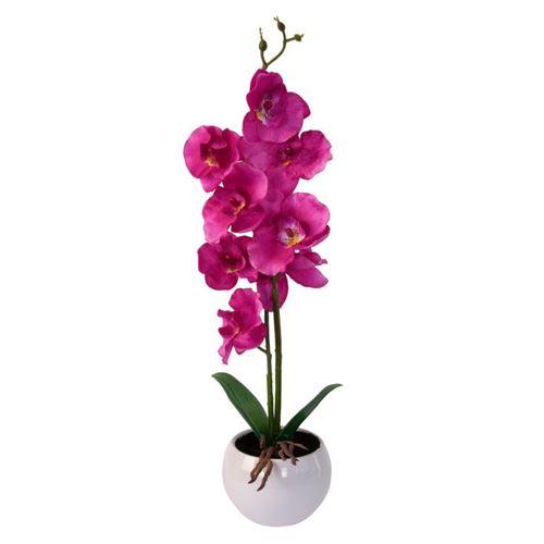 Kunstig orkide i potte - 37 cm høj - mørk rosa