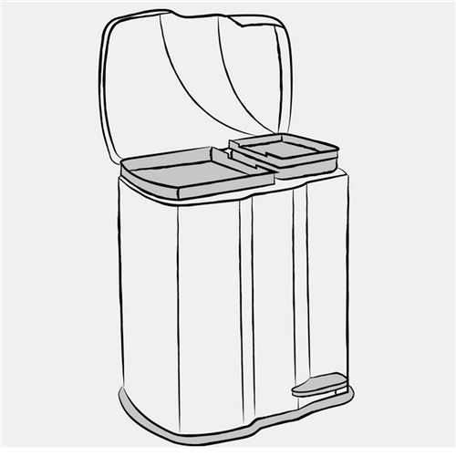 Stor affaldsspand m/2rum og fodpedal