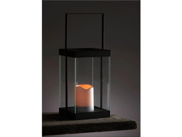 Lanterne Living Light Firkantet lygtehus med LED sterinlys