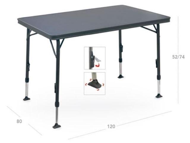 Crespo letvægtsbord 120 x 80 cm med sort stel og stærk melamin bordplade