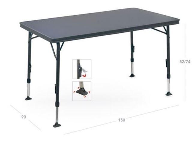 Crespo letvægtsbord XL 150 x90 cm med sort stel og stærk melamin bordplade