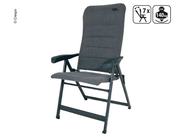 Crespo positionsstol med 7 positioner og nakkepude i grå