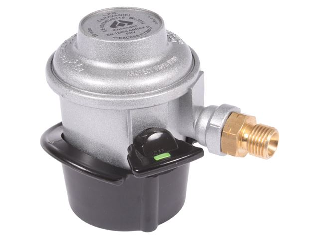 Gasregulator Click-on med gevind og slangebrudsikring. 1,5 kh/h