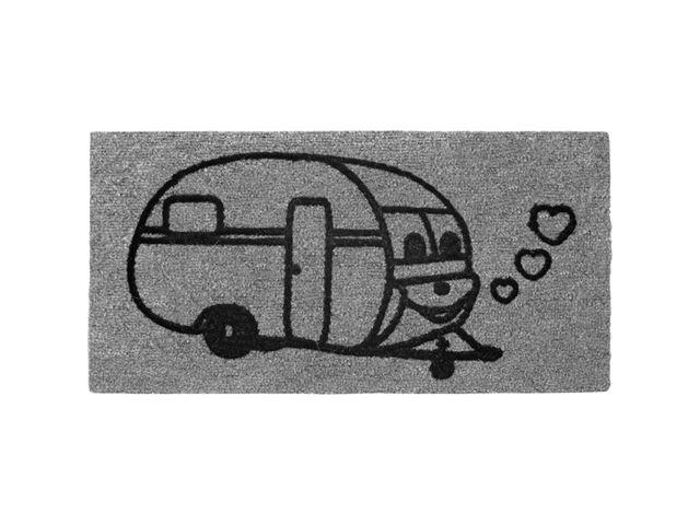 Dørmåtte med campingvogn motiv, 25 x 50 cm