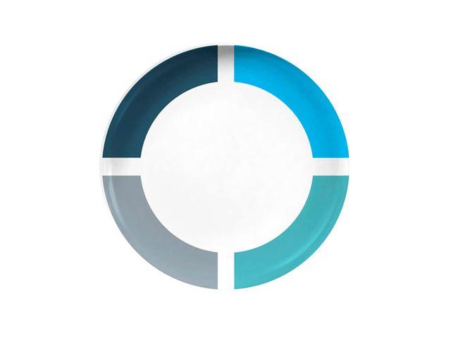 Blå Spectrum desserttallerken Ø20 cm. Med antislip.
