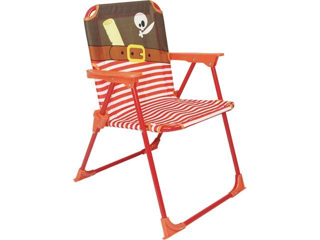 Børnestol med pirat-motiv.