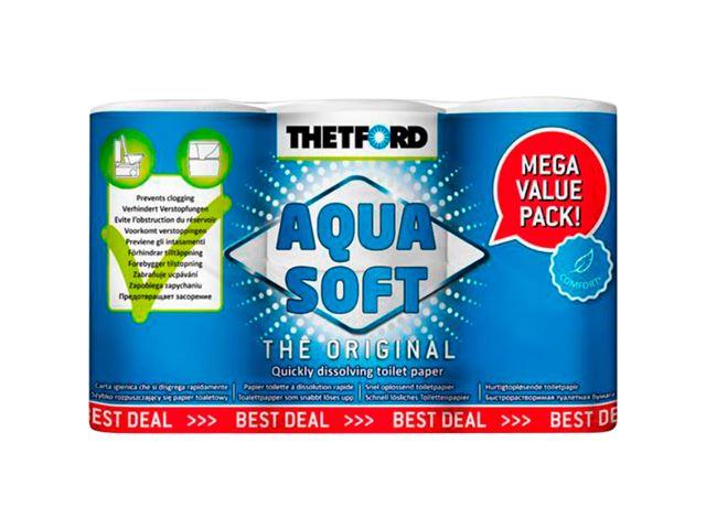 Aqua Soft toiletpapir, 10 pakker i en kasse.