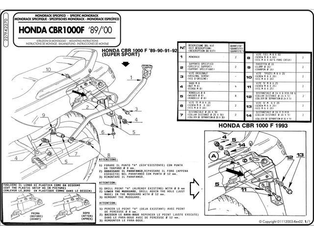 GIVI Bagagebærer u/topplade - CBR1000F (89-02)