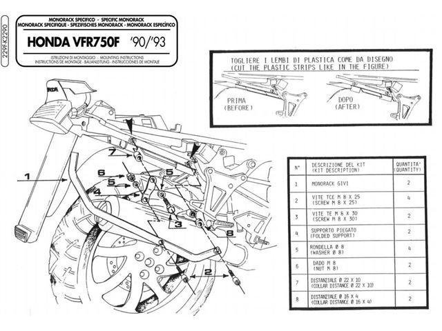 GIVI Bagagebærer u/topplade - VFR750F (90-93)