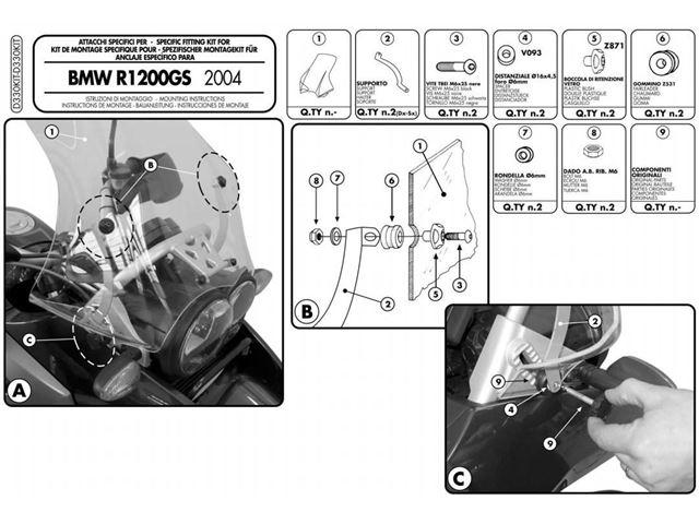 GIVI Mont.kit Vindskærm - R1200GS 04-12 (+330DT)